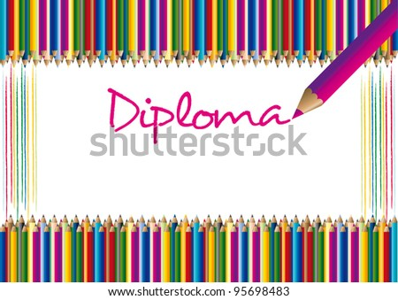 Diploma for children with the motive of the crayons in the vector - stock vector