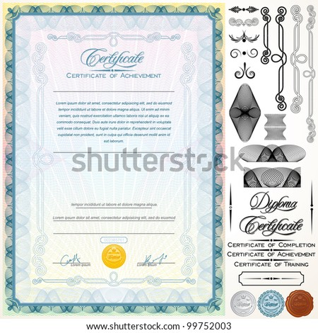 Diploma or Certificate Template. Customizable Design Elements, Titles and Patterns - stock vector