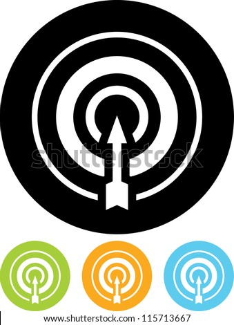 Direct hit. Target and arrow - Vector icon isolated - stock vector