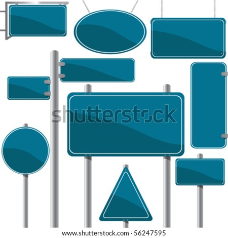 Direction and advertise signs, vector - stock vector