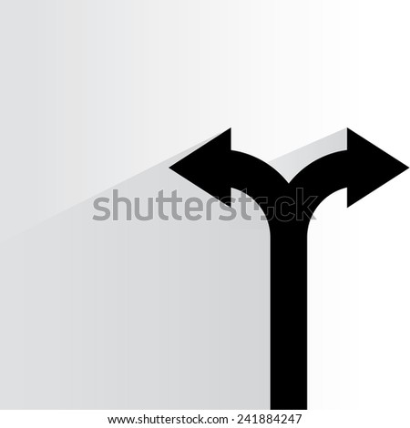 direction arrow sign, decision making concept on white background, flat and shadow theme - stock vector