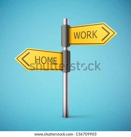 direction road sign with home and work words eps10 vector illustration - stock vector