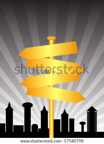 direction sign city - stock vector