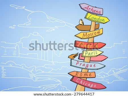 Direction to different places traffic sign indicating distances to several well known cities in the world travel concept - stock vector