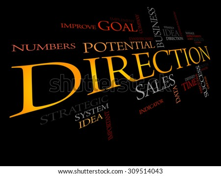 Direction word cloud, business concept - stock vector