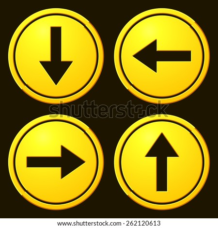 Directional Arrows Yellow Signs. Danger and Caution Street Signs Collection. Road Signs - stock vector
