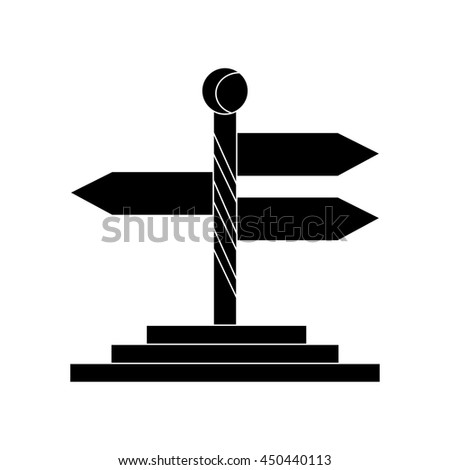 Directional wooden signs flat icon silhouette - stock vector