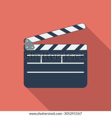 Director clapperboard icon. Flat vector related icon with long shadow for web and mobile applications. It can be used as - logo, pictogram, icon, infographic element. Vector Illustration. - stock vector