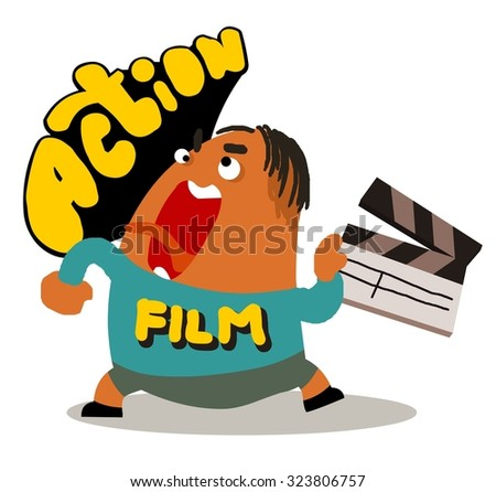 Director with movie clap. Vector illustration Flat - stock vector