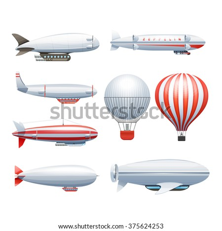 Dirigible and hot air balloons airships in flight icons collection  white red abstract isolated vector illustration  - stock vector