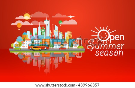 Dirrefent world famous sights. Open summer season concept. Modern cityscape Vector 