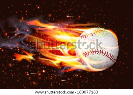 Dirty baseball speeding through the air on fire - stock vector