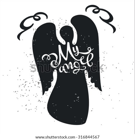 Dirty cartoon romantic poster. Angel with a cute Quote on a Valentine's Day card or a card with an invitation for a date. Inspiring vector typography. - stock vector