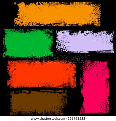Dirty Grunge Edges Banner Box Vectors - stock vector
