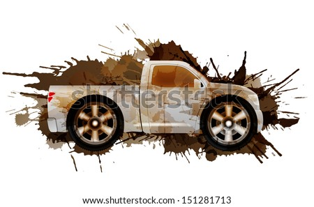 Dirty puckup with big wheels - stock vector