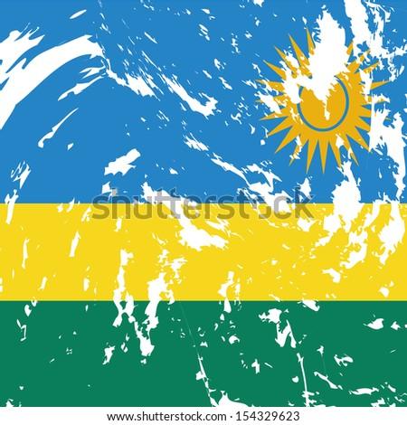 dirty Rwanda flag background - stock vector