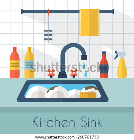 Dirty sink with kitchenware, utensil,  dishes, dish detergent and a sponge. Flat style vector illustration. - stock vector