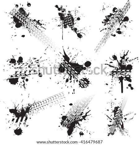 Dirty tire tracks isolated on white - stock vector