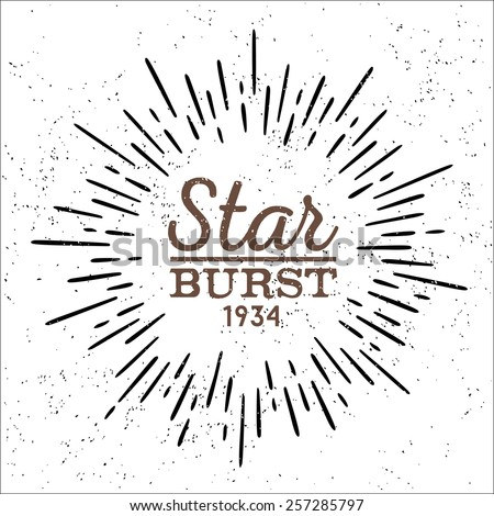 dirty vintage hipster style vector monochrome starburst with ray for badge label or logo - stock vector