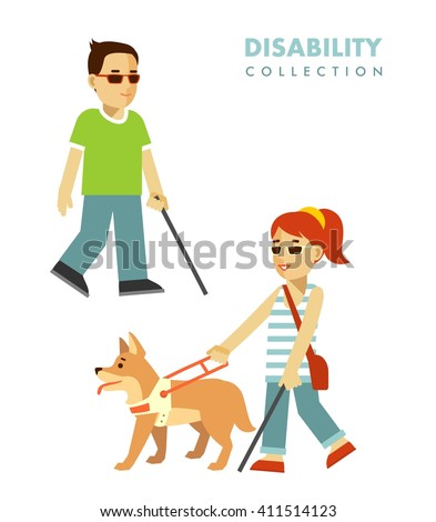 Disability blind person concept. Young disabled blind man and woman with stick and guide dog isolated on white background - stock vector