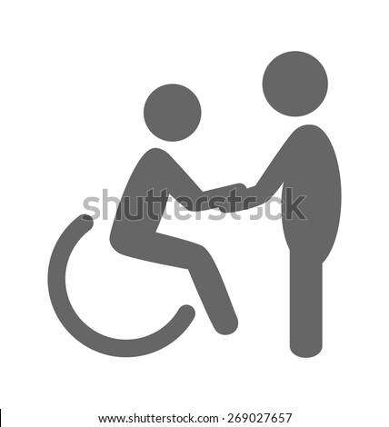 Disability man with helpmate pictogram flat icon isolated on white background  - stock vector