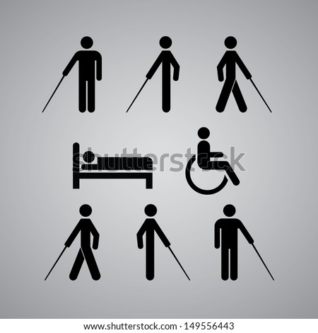 Disability symbol on gray background - stock vector