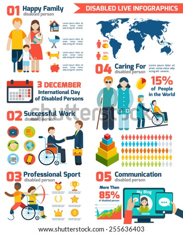 Disabled  and retirement infographics set with charts and world map vector illustration - stock vector