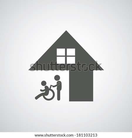 disabled care sign on gray background  - stock vector