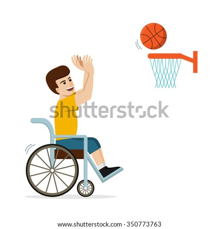 Disabled caucasian man in a wheelchair playing basketball. Flat vector illustration of handicapped player throwing a ball into basket. Concept for sport, summer paralympic games, recovery. - stock vector
