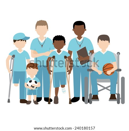 disabled children with friends and teacher playing sports - stock vector