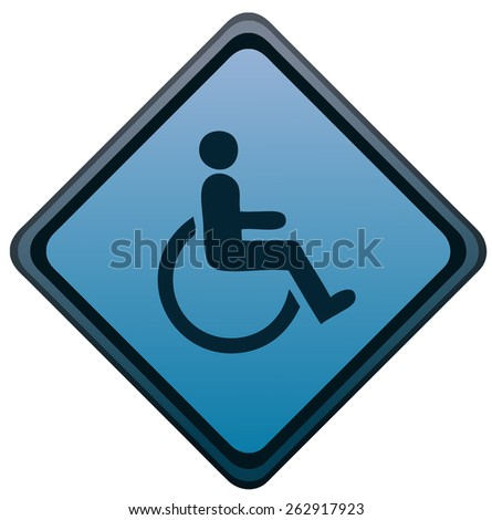 Disabled Diamond Shape Sign, Vector Illustration isolated on White Background.  - stock vector