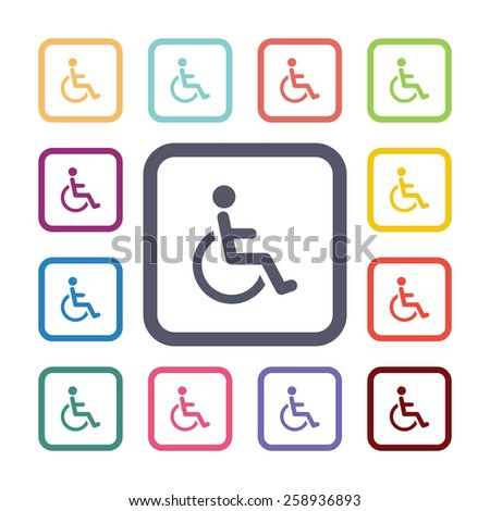 disabled flat icons set. Open round colorful buttons. Vector  - stock vector