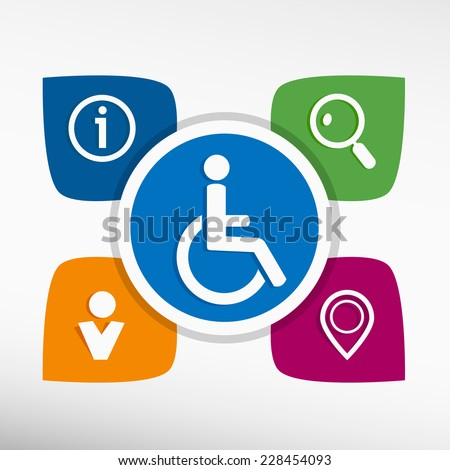 Disabled Handicap and icons set vector illustration. Modern Flat style  - stock vector