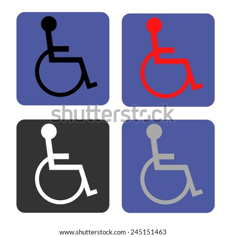 Disabled icon. Human on wheelchair symbol. Handicapped invalid sign. - stock vector