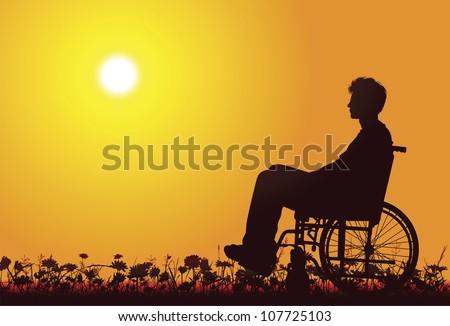 Disabled men on a wheelchair - stock vector