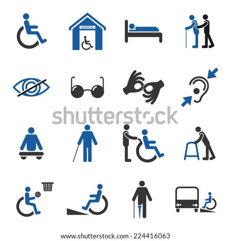 Disabled people care help assistance and accessibility icons set isolated vector illustration - stock vector