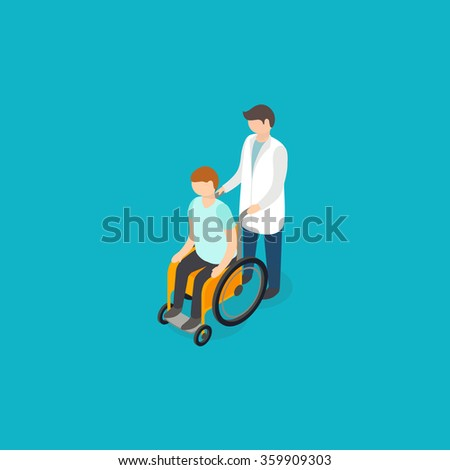 Disabled people help concept. Isometric 3d vector - stock vector