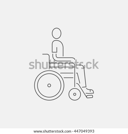 Disabled person sitting in the wheelchair. Line icon - stock vector