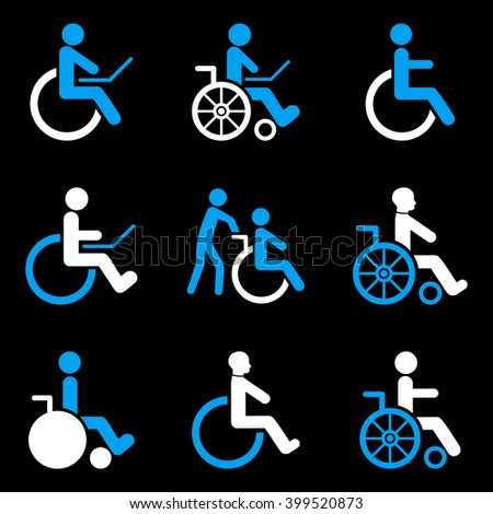 Disabled Persons vector icon set. Style is bicolor blue and white flat symbols isolated on a black background. - stock vector