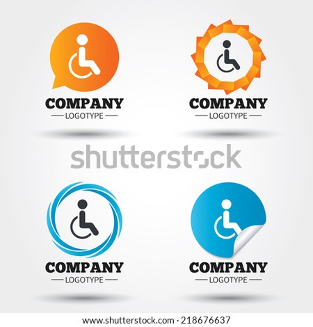 Disabled sign icon. Human on wheelchair symbol. Handicapped invalid sign. Business abstract circle logos. Icon in speech bubble, wreath. Vector - stock vector