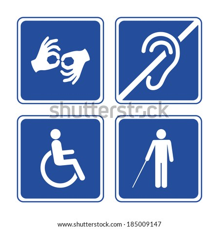 Disabled signs: deaf, blind, mute and wheelchair vector icons - stock vector