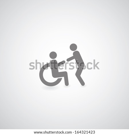 Disabled symbol  on gray background  - stock vector