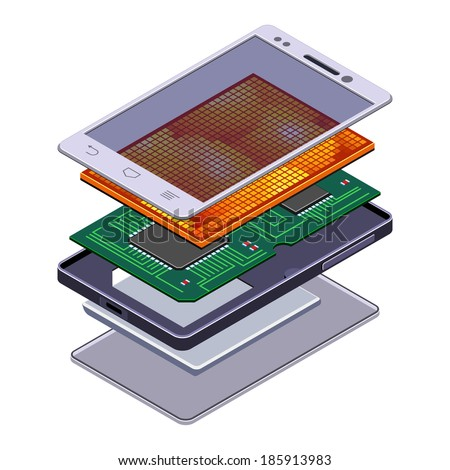 Disassembled Isometric Smartphone Tablet Cutaway. Vector Illustration. - stock vector