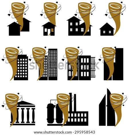 Disaster icon collection tornado or vector set - stock vector
