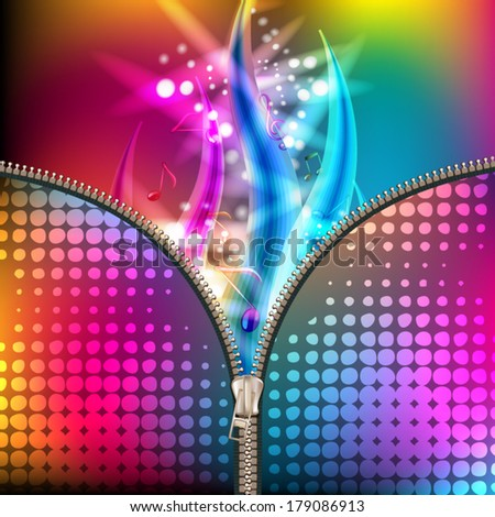 Disco abstract background with music notes covered by metallic zipper  - stock vector