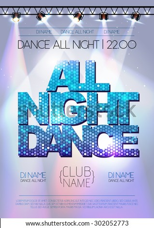 Disco background. All night dance poster - stock vector