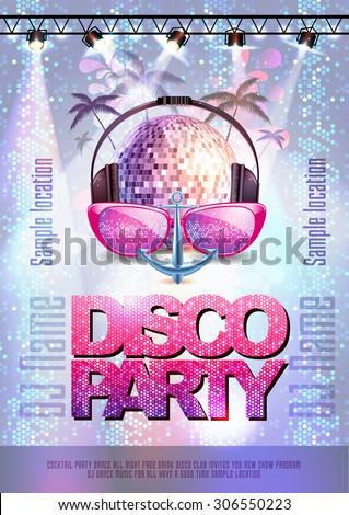 Disco background. Disco party poster  - stock vector