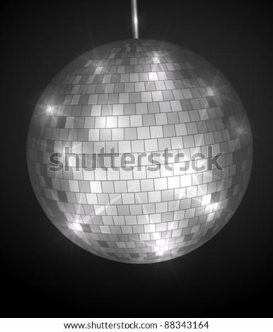 Disco ball in dark - stock vector