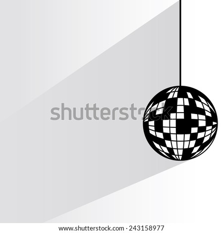 disco ball on white background, flat and shadow theme - stock vector