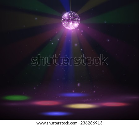 Disco ball vector background. Stage with colorful spotlights. Vector eps10. - stock vector
